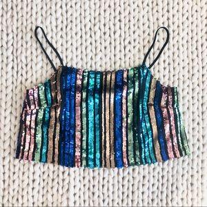 Topshop Sequin Striped Cami Crop Top